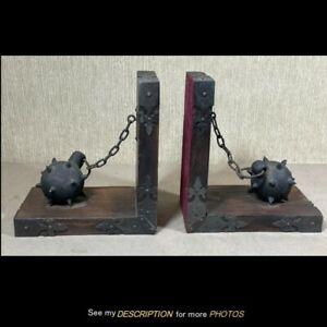 Antique Pair Medieval Style Bookends Ball & Chain Arts & Crafts