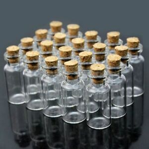50x Mini Empty Glass Bottles Wishing Bottles Pendant Vials Jars + Cork Stopper