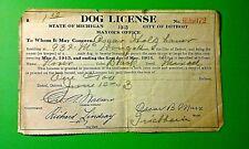 1913 Detroit Dog License