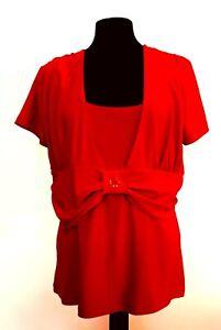👗 Liz Jordan Red Top Size XS Square Neck Short Sleeve Womens Clothing