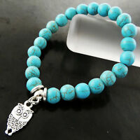 BRACELET BANGLE REAL 925 STERLING SILVER S/F TURQUOISE BEADS OWL CHARM DESIGN