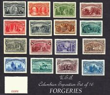 U.S.A. 1893 Columbian Exposition Set of 16 (Sg235 to 350). forgeries