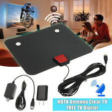 NEW BLACK AMPLIFIED INDOOR HDTV ANTENNA POWER ATSC UHF VHF FM HD DIGITAL TV
