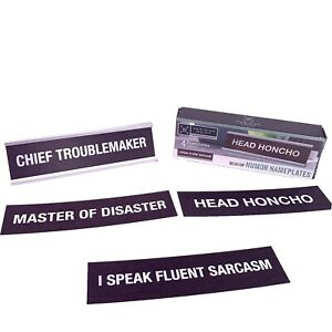 New Desk Name Plate 4 Interchangeable Sayings Funny Novelty Gift Office