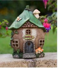 25.5cms Fairy Folklore Leaf Roof Tree House Solar light Resin Garden Ornament