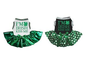 I'm Irish Kiss Me White Cotton Top Bling Green Tutu Pet Dog Puppy Dress