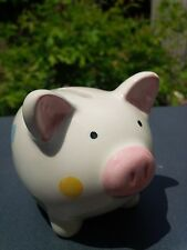 CERAMIC PIGGY BANK 4.5 INCHES PINK NOSE EARS OFF WHITE POLKA DOTS PURPLE BLUE YE