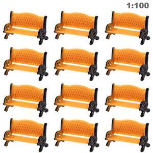 12pc Model Train Platform Park Street Seat Bench Chair Settee 1:100 TT HO Gauge