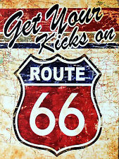 Get Your Kicks Route 66, Retro metal Aluminium Sign vintage
