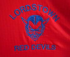 LORDSTOWN RED DEVILS mascot lrg jacket vtg OHIO Warren High School 1980s hoodie