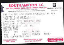 2000/01 SOUTHAMPTON V SHEFFIELD WEDNESDAY FA Cup 4th Rnd Match Ticket 27-01-2001