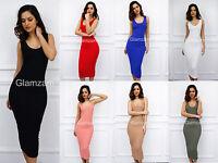 Glamzam New Womens Ladies Sleeveless Midi Round Neck Stretch Bodycon Party Dress