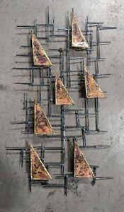 "Vtg Mid Century Modern Brutalist Nail Wall Sculpture Schmidt Era 16"" x 30"""