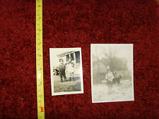 Little girl with toy dolls dog and brother set 2 retro vintage photographs 1963