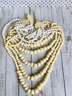 ANTIQUE VICTORIAN PERIOD CHINESE CARVED BOVINE BONE SIX STRAND HEAVY NECKLACE