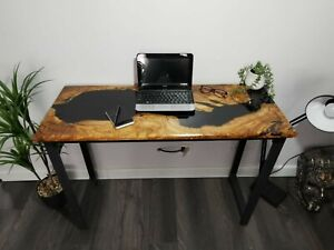 Epoxy resin Computer desk River Table olive wood