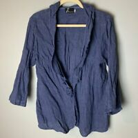 Fenini Women's 100% Linen Top Size Medium Purple Cardigan 3/4 Sleeves