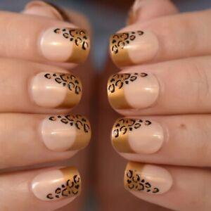 False nails UV Gel French Square Gold Leopard 24pk +nail tabs by EchiQ
