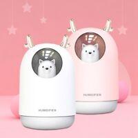 MIni USB Humidifier 300ml Cute Pet Ultrasonic Aroma Air Oil Diffuser LED Lamp