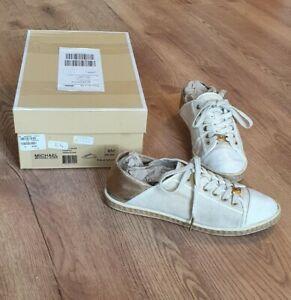 Michael Kors Kristy Slide Schuhe Pale Gold Gr. 38 Canvas Leinen   Luxus High End