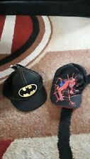 BOYS BATMAN(NEW) AND SPIDERMAN(USED) BASEBALL CAPS AGE 4 - 8 YEARS