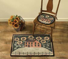 "NEW  Park Designs House and Sunflowers Flower Hooked Rug 24"" x 36"" Rug"
