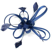 Large Navy Feather Comb Fascinator Ladies Day Races Ascot Weddings 18