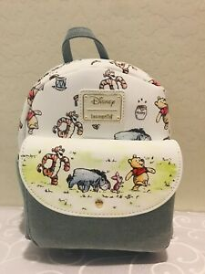 Loungefly Disney Winnie the Pooh Denim Mini Backpack with Tigger Placement