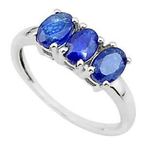 2.33cts 3 Stone Natural Blue Sapphire 925 Sterling Silver Ring Size 8 T18268