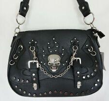 Biker Style Black Faux Leather  Silver Skull Concealed Gun Carry Shoulder Bag