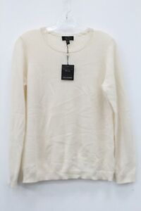 Charter Club NWT Women's Cashmere Ivory Crewneck Sweater Size M