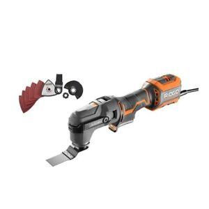 Ridgid R28602 Corded 4 Amp Multi-Tool with Tool-Free Head, Blade, Sanding Pad
