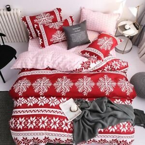 Christmas Snow Bedding Set Bed Duvet Cover Sheet Pillowcase Queen King Twin Full