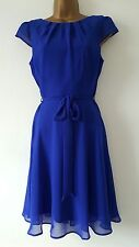 NEW DP Size 6 8 10 Cobalt Blue Chiffon Skater Dress Occasion Wedding Party