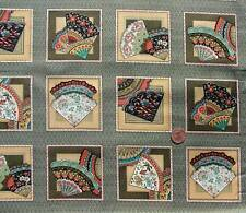 Oriental Fans terracotta Card Squares fabric Fabric Freedom F465-2