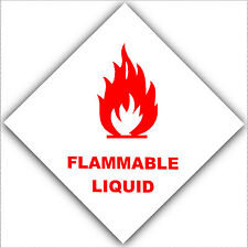 6 x Flammable Liquid-Warning Sticker-Health and Safety Self Adhesive Sign