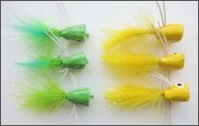 Popper Fishing Flies, 6 Pack Green & Yellow, Size 10, Bass or Large Trout