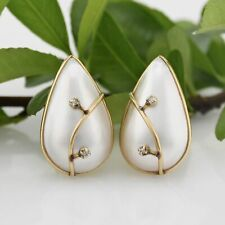 14k Yellow Gold Teardrop/Pear Pearl & Diamond Omega Back Earrings
