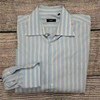 Hugo Boss Men's Long Sleeve Casual Blue Striped Button Down Shirt Size 17 3/4 45