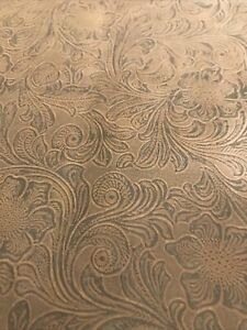 Brown Embossed Paisley faux Suede Leather Upholstery Fabric 60x 54