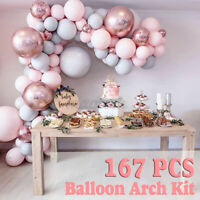 167Pcs/set Pink Balloon Arch Kit Set Birthday Wedding Baby Shower Garland