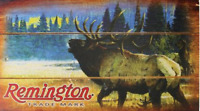 REMINGTON BUGLING ELK WOOD SIGN HUNTING AND SHOOTING WALL WOODEN AMMO 1.00
