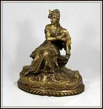 """""""Bronze of a Beautiful Victorian Woman Sitting on a Bench""""  (16"""" H x 14"""" W)"""