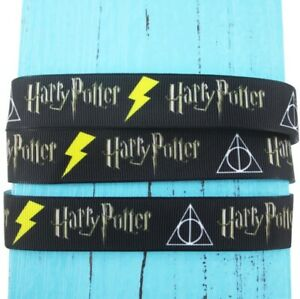 By The Yard 7/8 Inch Printed Harry Potter Deathly Hallows Grosgrain Ribbon Lisa