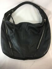 EXPRESS Black Faux Leather Hobo Shoulder Bag Purse Pocketbook w/ Tassels Silver