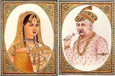 Emperor Akbar Empress Jodha Rare Mughal Miniature Art Royal Historical Painting