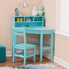 Juvenile Corner Desk and Reversible Hutch with Chair - Teal
