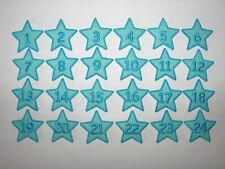 Adventskalender-Zahlen 1-24 zum Aufbügeln, Motiv: Stern aus Filz türkis/hellblau
