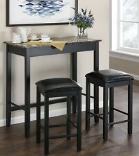 Tall Pub Table Bar Stools Counter Height Home Set 3 Piece Dining Kitchen Bistro