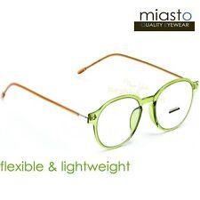NWT$39.99 MIASTO RETRO ROUND PREPPY READER READING GLASSES+1.50 FLEXIBLE (GREEN)